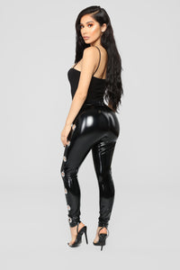 Voodoo Patent Leggings - Black Angle 5