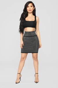 Brighter Than The Future Rhinestone Skirt - Black Angle 2