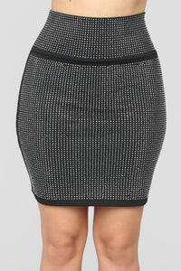 Brighter Than The Future Rhinestone Skirt - Black Angle 1