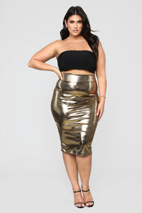 Heart Of Gold Midi Skirt - Gold Angle 7