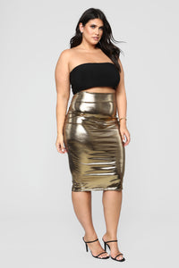 Heart Of Gold Midi Skirt - Gold Angle 8