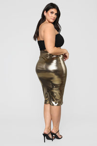 Heart Of Gold Midi Skirt - Gold Angle 9