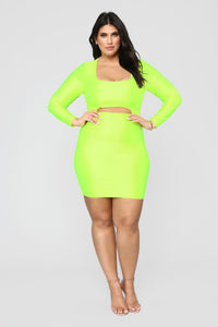 GNO Again Cutout Mini Dress - Neon Yellow Angle 7