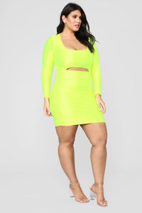 GNO Again Cutout Mini Dress - Neon Yellow Angle 9