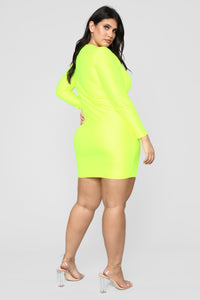 GNO Again Cutout Mini Dress - Neon Yellow Angle 10