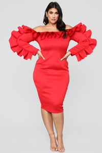 Ruffle You In Love Dress - Red