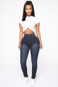 Classic High Waist Skinny Jeans - Blue Wash