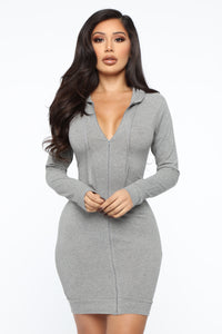 Look At Me Hooded Mini Dress - Grey