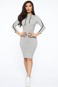 Sport Mode Hooded Midi Dress - Heather Grey Angle 1