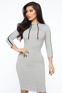 Sport Mode Hooded Midi Dress - Heather Grey Angle 2