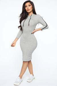 Sport Mode Hooded Midi Dress - Heather Grey Angle 3