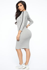 Sport Mode Hooded Midi Dress - Heather Grey Angle 4