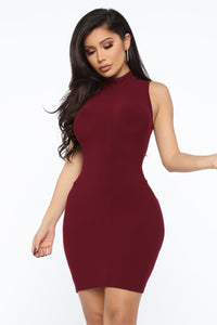 Stay With Me Mini Dress - Burgundy