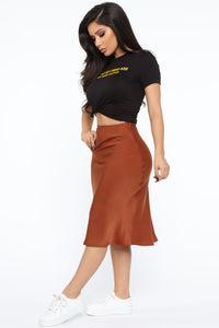 Runway All Day Satin Midi Skirt - Rust