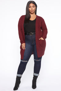 Throw It On Ribbed Cardigan - Burgundy