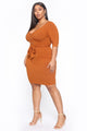 More To Give Mini Dress - Rust
