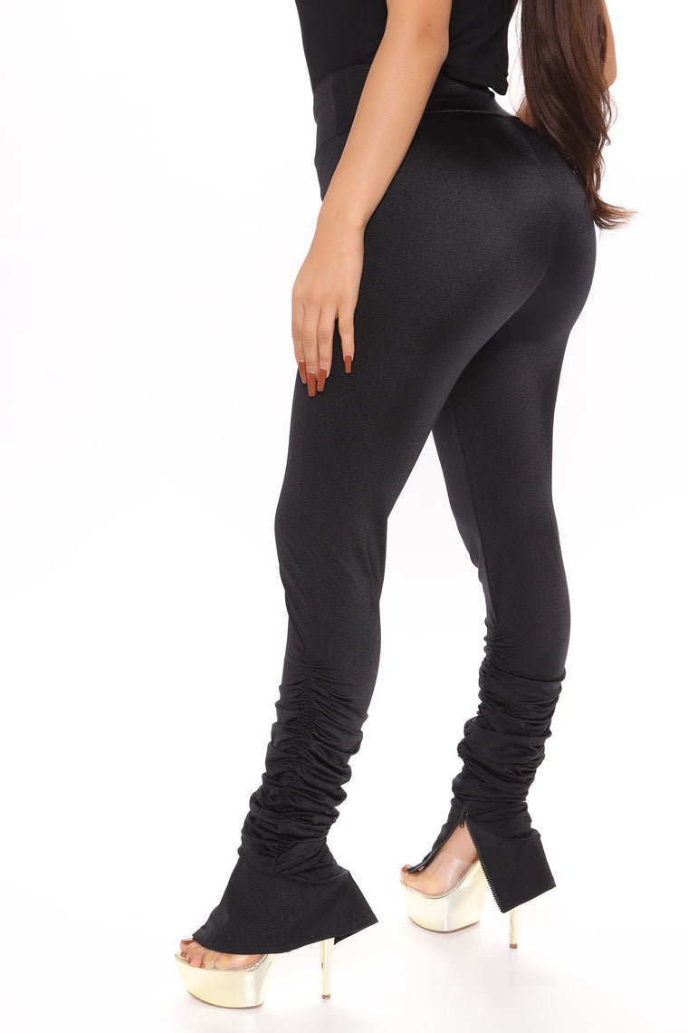 All The Right Places Stacked Pant - Black