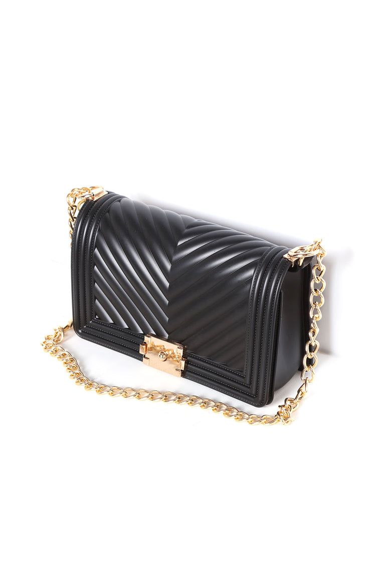 On The VIP List Quilted Handbag - Black