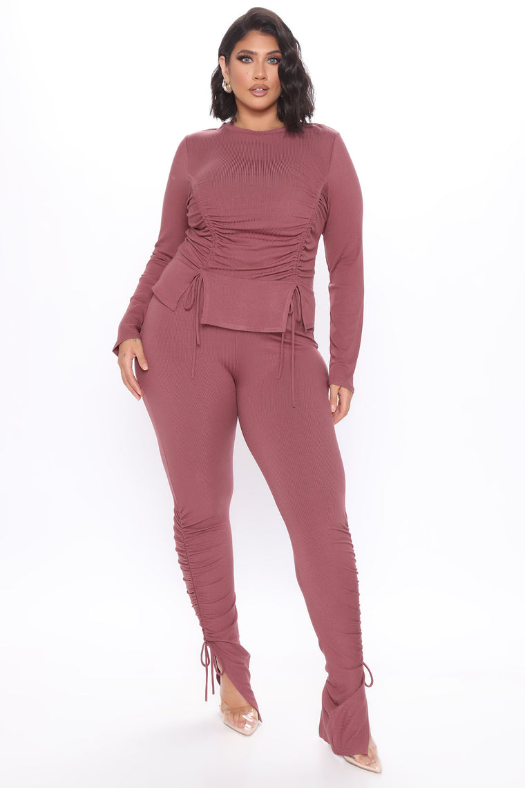 Clear Your Schedule Long Sleeve Ruched Pant Set - Mauve