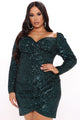 Shining Glam Sequin Mini Dress - Hunter
