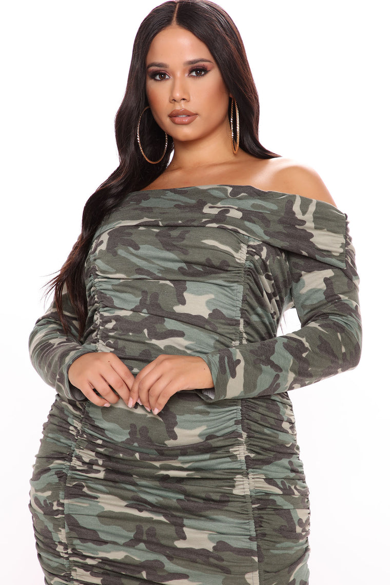 Never Blend In Camo Mini Dress - Camouflage