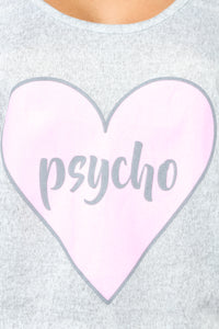 Cute But Psycho PJ Set - Grey Angle 2