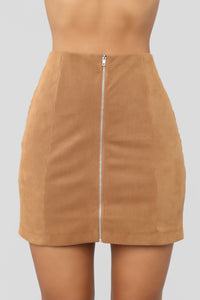 Fall For You Corduroy Skirt - Camel Angle 1