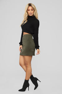 Fall For You Corduroy Skirt - Olive