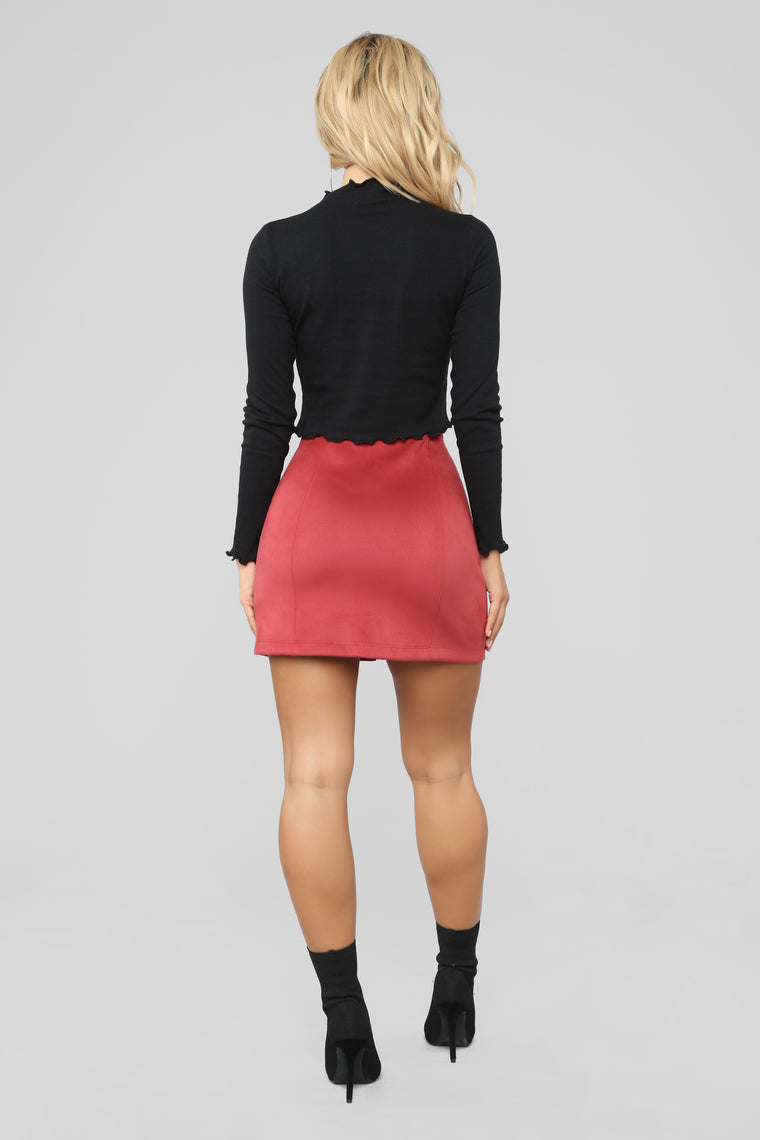 Farrah Faux Suede Skirt - Wine