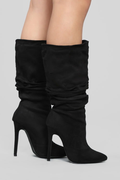 Don't Lie To Me Heeled Boots - Black