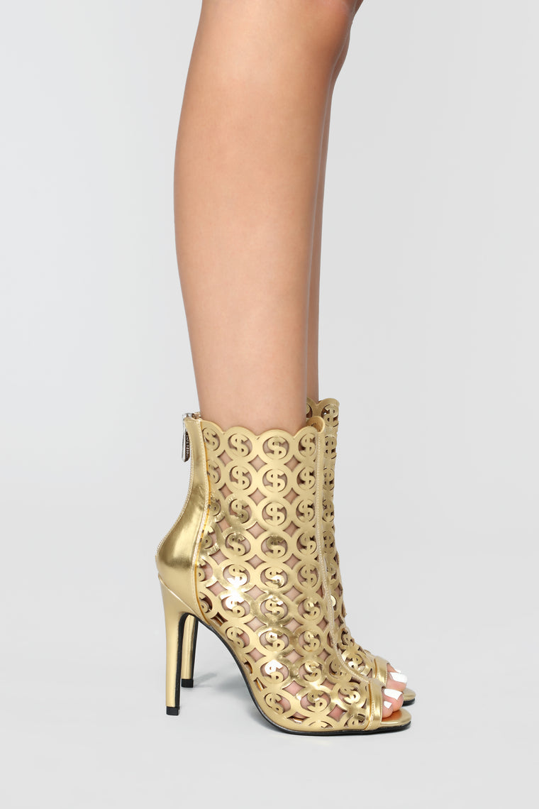 On That Hustle Heeled Bootie - Gold