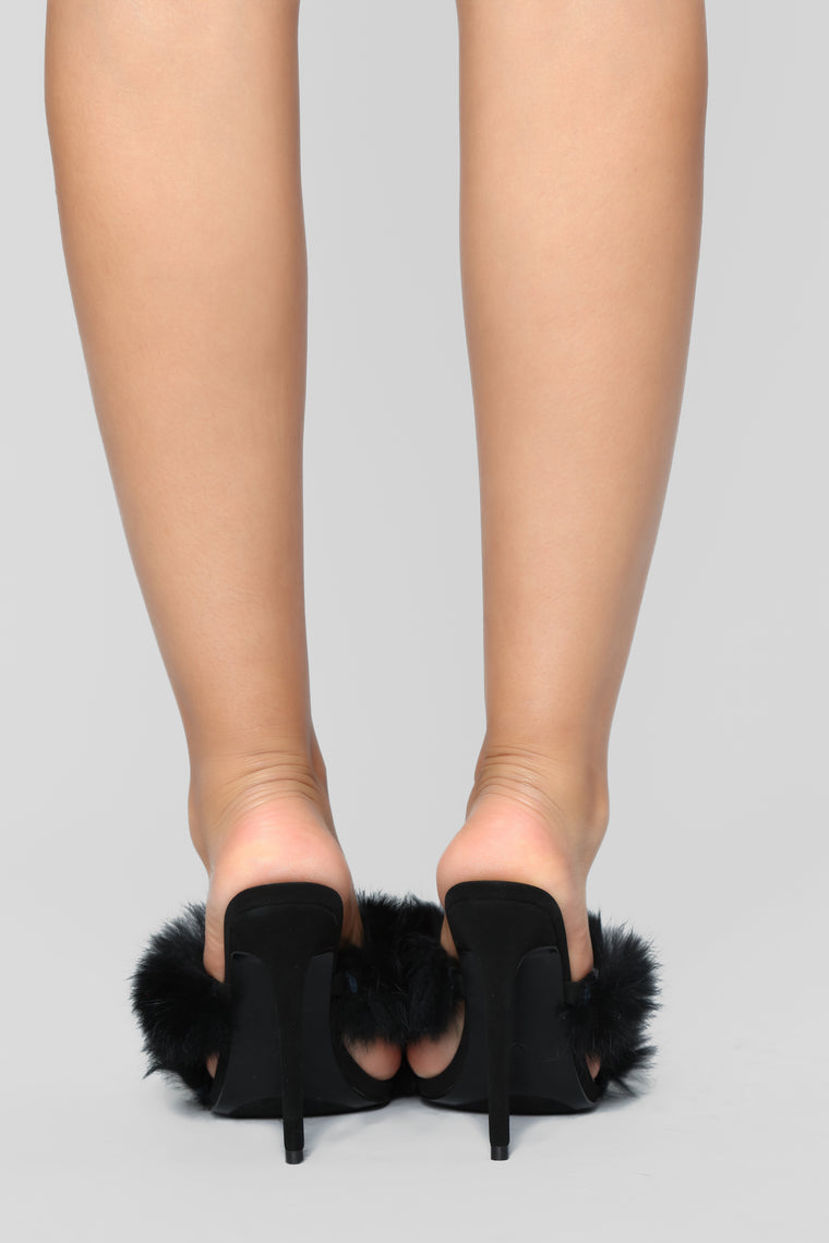 Furry Business Heeled Sandals - Black
