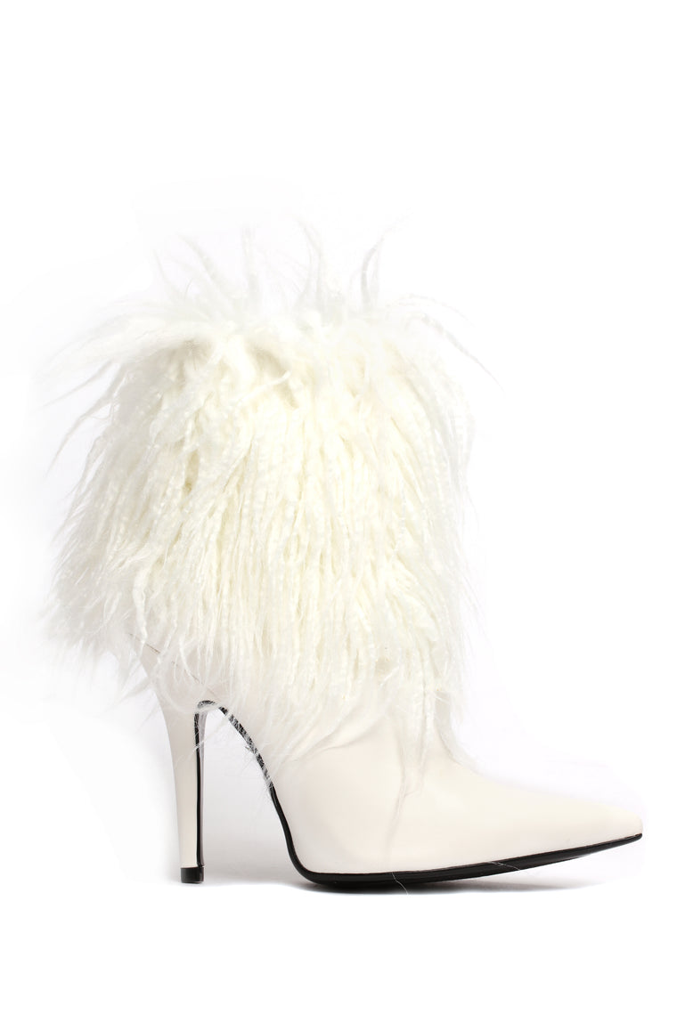 Long Hair Don't Care Bootie - White