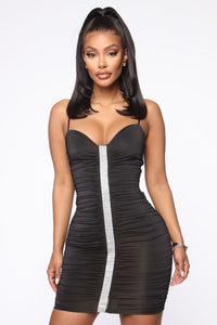 Rhine Or Die Ruched Mini Dress - Black Angle 2