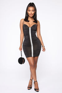 Rhine Or Die Ruched Mini Dress - Black Angle 1