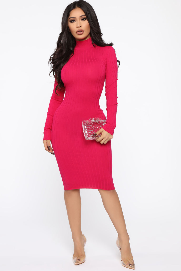 Always Relaxed Sweater Midi Dress - Fuchsia