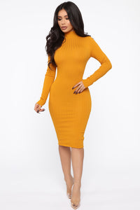 Always Relaxed Sweater Midi Dress - Mustard