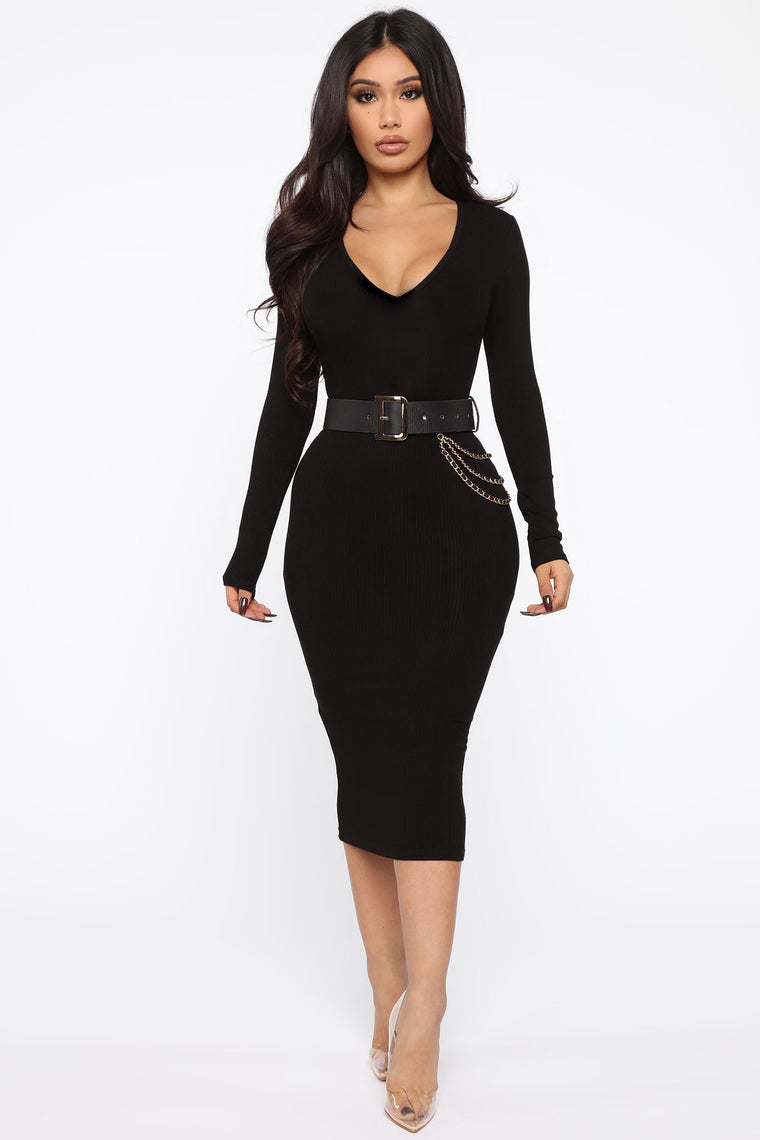 See Me Ribbed Midi Dress   Black by Fashion Nova