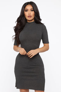 Yours Truly Midi Dress - Charcoal