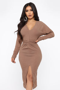 Old Desire Midi Dress - Brown Angle 2