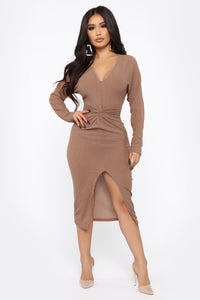 Old Desire Midi Dress - Brown Angle 1