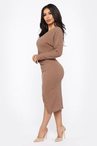 Old Desire Midi Dress - Brown Angle 3