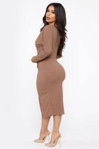 Old Desire Midi Dress - Brown Angle 4