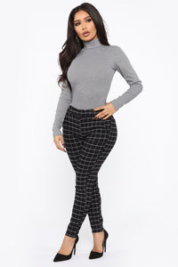 Lovely Turtleneck Long Sleeve Top - Grey