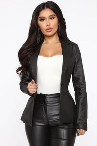 Boss In Town PU Leather Blazer - Black