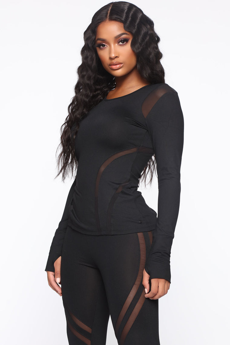 Sugar And Spice Active Long Sleeve Top - Black