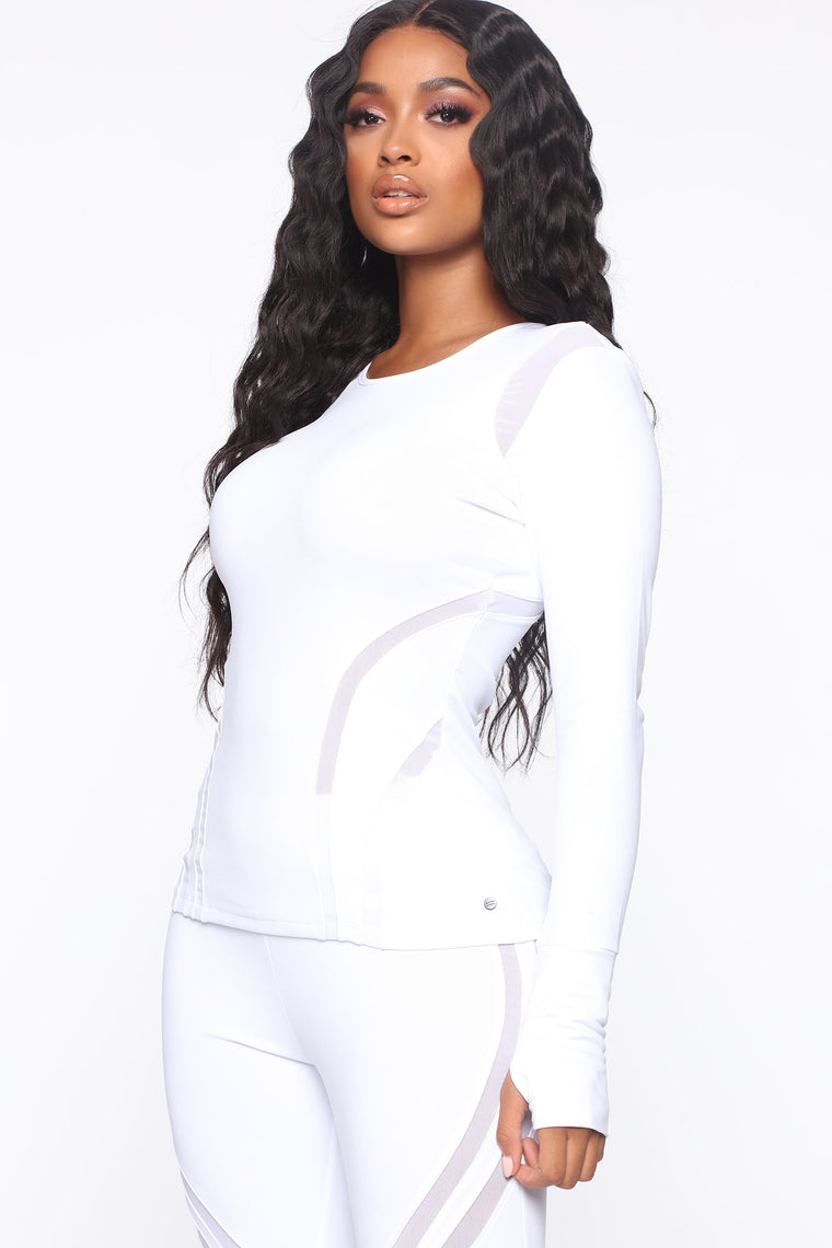 Sugar And Spice Active Long Sleeve Top - White