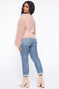 Cloudy Skies Fuzzy Sweater - Pink Angle 5