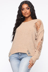 Like You A Latte Sweater - Taupe