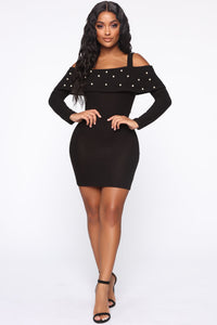 Fancy Feel Cold Shoulder Mini Dress - Black Angle 1